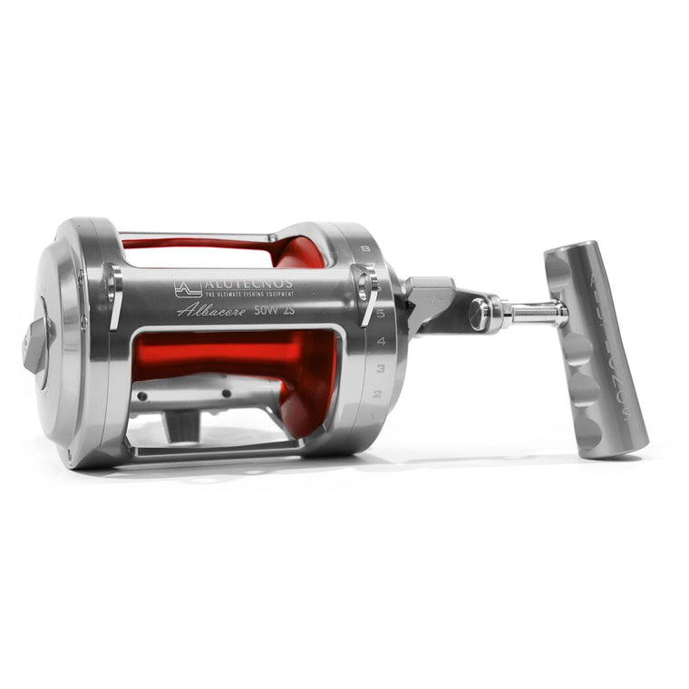 Alutecnos Albacore 50 Wide Two Speed Reel - Custom Color Silver/Red