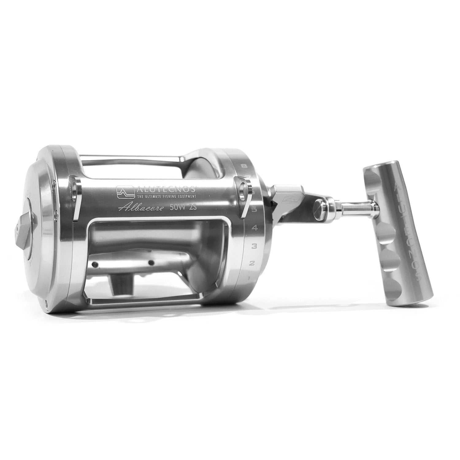 Alutecnos Albacore 50 Wide Two Speed Reel - Silver - Bulluna.com