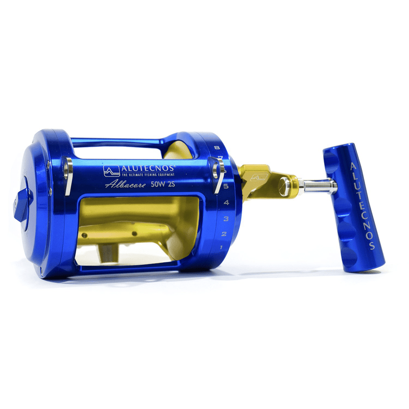 Alutecnos Albacore 50 Wide Two Speed Reel - Blue/Gold - Bulluna.com