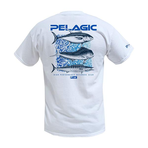 Pelagic Long Rage White Short Sleeve Tee Shirt (HN) - Bulluna.com