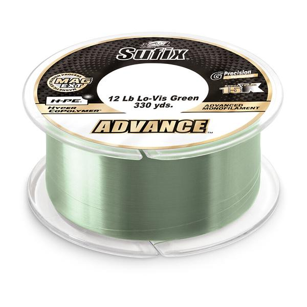 Sufix Advance Monofilament Line - 12 Pounds 330 Yards - Lo-Vis Green