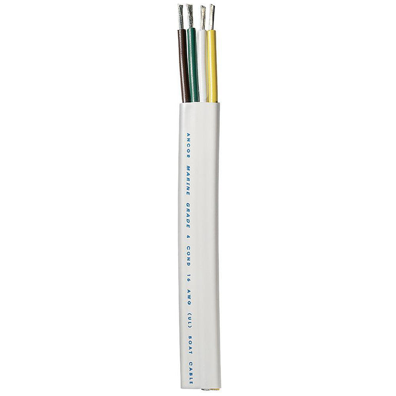 Ancor Trailer Cable - 16/4 AWG - Yellow/White/Green/Brown - Flat - 100' [154010] - Bulluna.com
