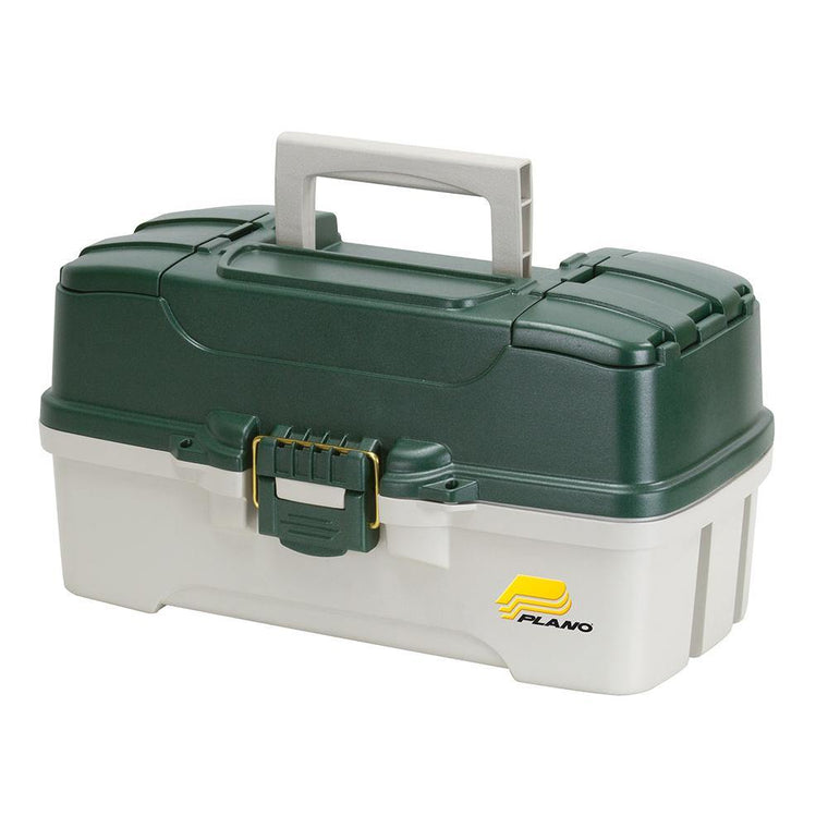 Plano 3-Tray Tackle Box With Dual Top Access - Dark Green Metallic/Off White