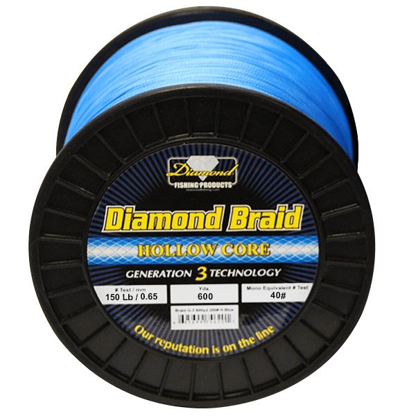 Momoi Diamond Gen 3 Braided Line - 150 Pounds 600 Yards - Hollow Core - Blue