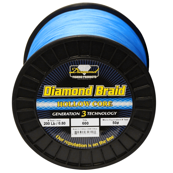 Momoi Diamond Gen 3 Braided Line - 200 Pounds 600 Yards - Hollow Core - Blue