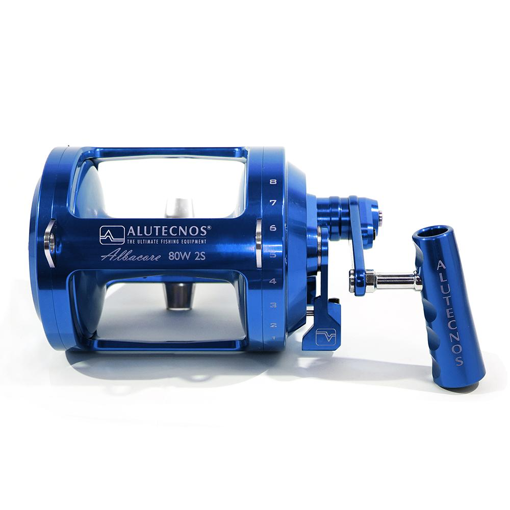 Alutecnos Albacore 80 Wide Two Speed Reel - Blue - Bulluna.com
