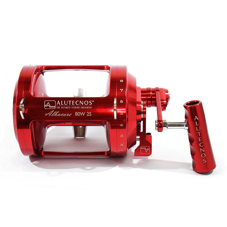 Alutecnos Albacore 80 Wide Two Speed Reel - Red