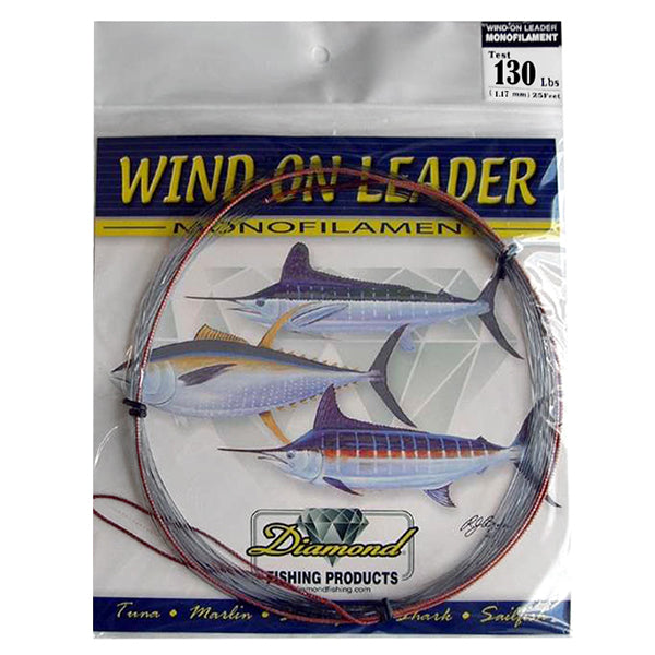 Momoi Diamond Monofilament 130 Pounds Wind-On Leader - 25 Feet - Smoke Blue