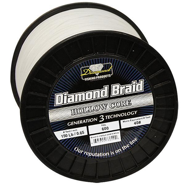 Momoi Diamond Gen 3 Braided Line - 150 Pounds 600 Yards - Hollow Core - White