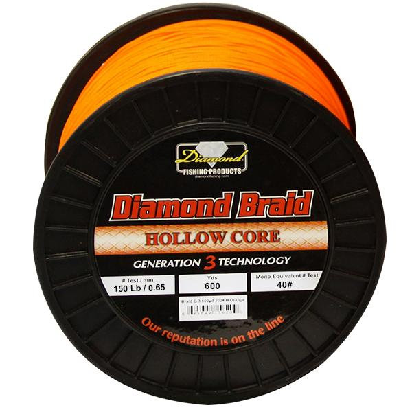 Momoi Diamond Gen 3 Braided Line - 150 Pounds 600 Yards - Hollow Core - Orange
