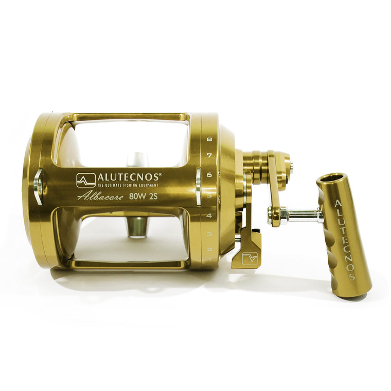 Alutecnos Albacore 80 Wide Two Speed Reel - Gold