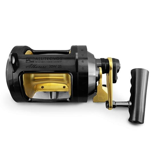 Alutecnos Albacore 30 Wide Two Speed Reel - Black/Gold