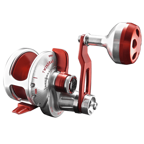 Accurate BV2-500N Boss Valiant Narrow Two Speed Conventional Reel - Silver/Red - Bulluna.com
