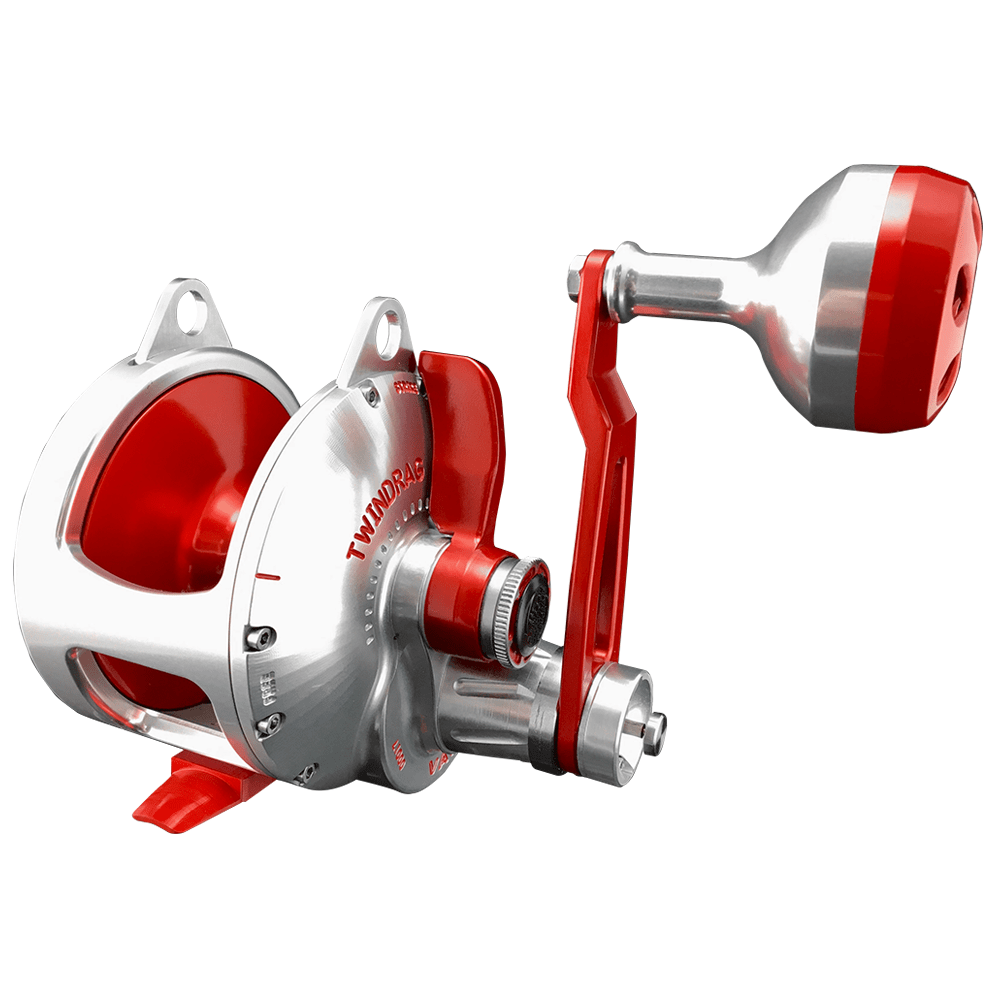 Accurate BV2-800N Boss Valiant Narrow Two Speed Conventional Reel - Silver/Red - Bulluna.com
