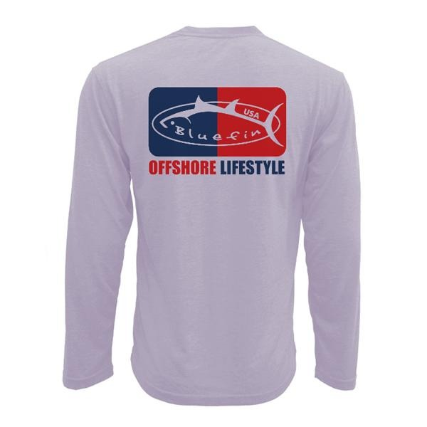 Bluefin USA Offshore Logo Lilac Long Sleeve Sun Shirt