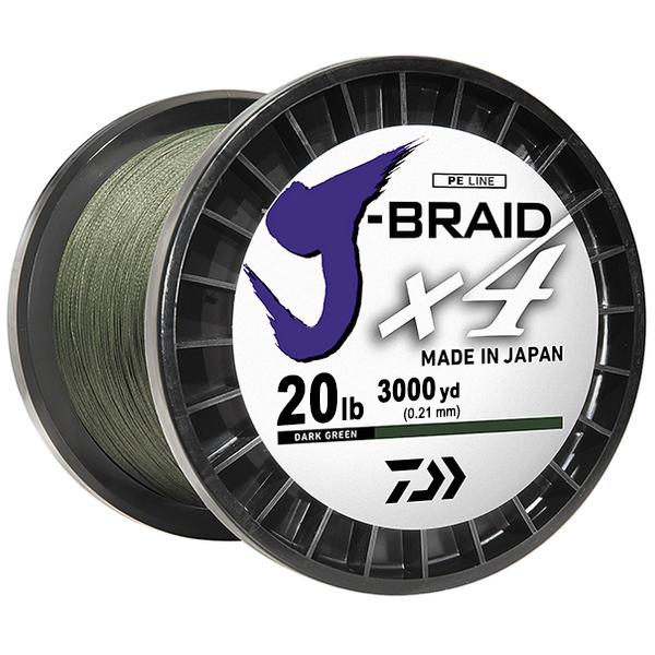 Daiwa J-Braid x4 4 Strand Braided Line - 20 Pounds 3000 Yards - Dark Green - Bulluna.com
