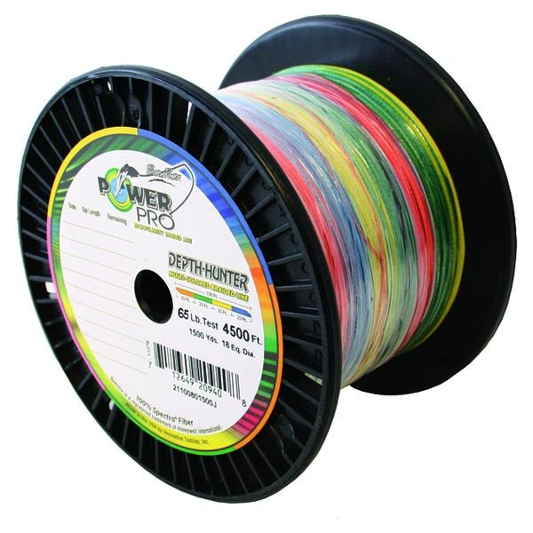 Power Pro Depth-Hunter Metered Braided Fishing Line 65 Pounds 1500 Yards - Multi Color