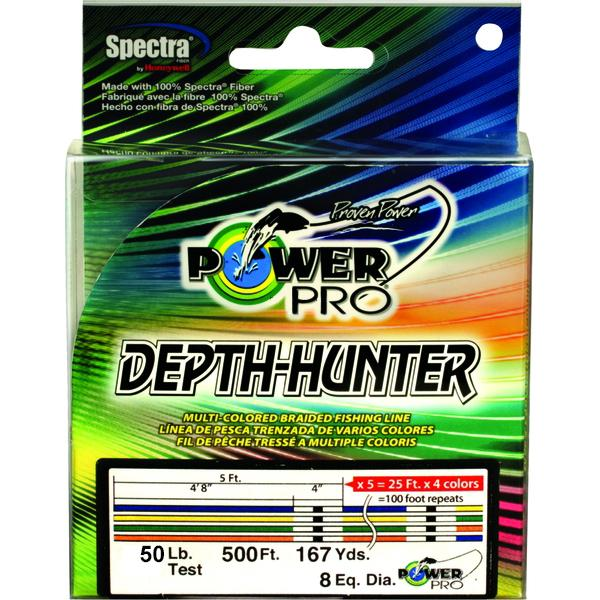 Power Pro Depth-Hunter Metered Braided Fishing Line 50 Pounds 167 Yards - Multi Color