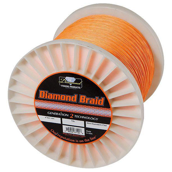 Momoi Diamond Solid Braided Line 80 Pounds 600 Yards - Orange