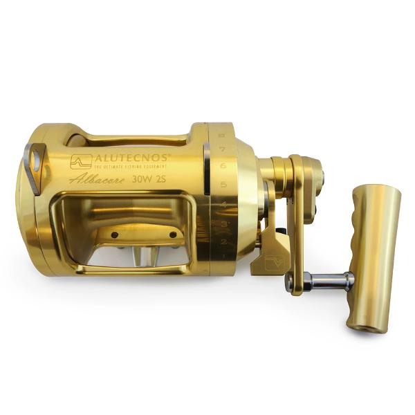 Alutecnos Albacore 30 Wide Two Speed Reel - Gold - Bulluna.com