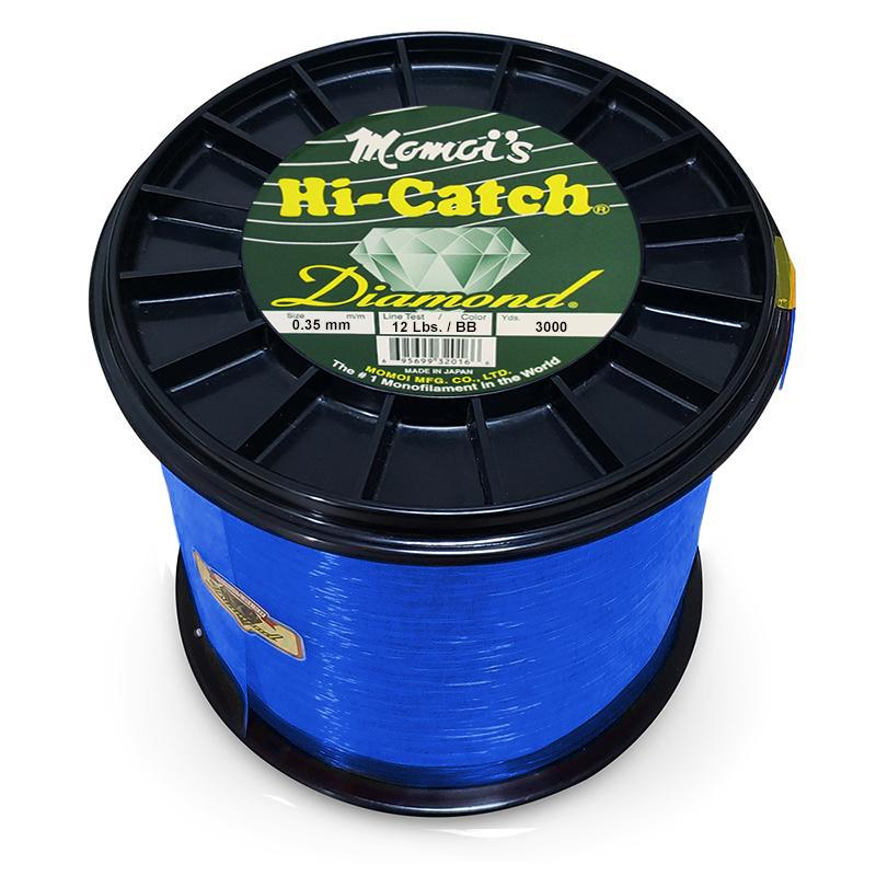 Momoi Hi-Catch Diamond Nylon Monofilament Line 12 Pounds 3000 Yards - Brilliant Blue - Bulluna.com