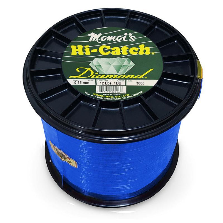 Momoi Hi-Catch Diamond Nylon Monofilament Line 12 Pounds 3000 Yards - Brilliant Blue