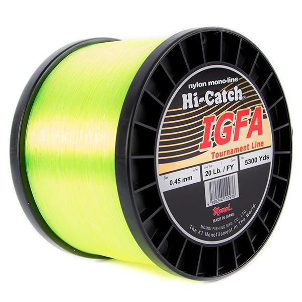 Momoi Hi-Catch I.G.F.A. Nylon Monofilament Line 20 Pounds 5300 Yards - Fluorescent Yellow