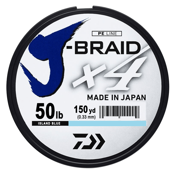 Daiwa J-Braid x4 4 Strand Braided Line - 50 Pounds 150 Yards - Island Blue - Bulluna.com