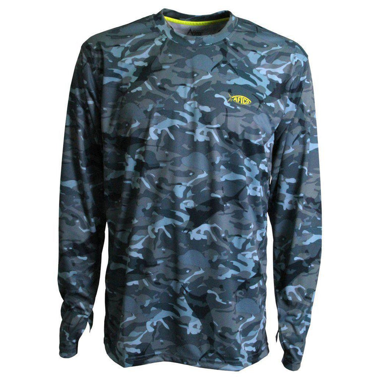 Aftco Blue Camo Caster Long Sleeve Sun Shirt