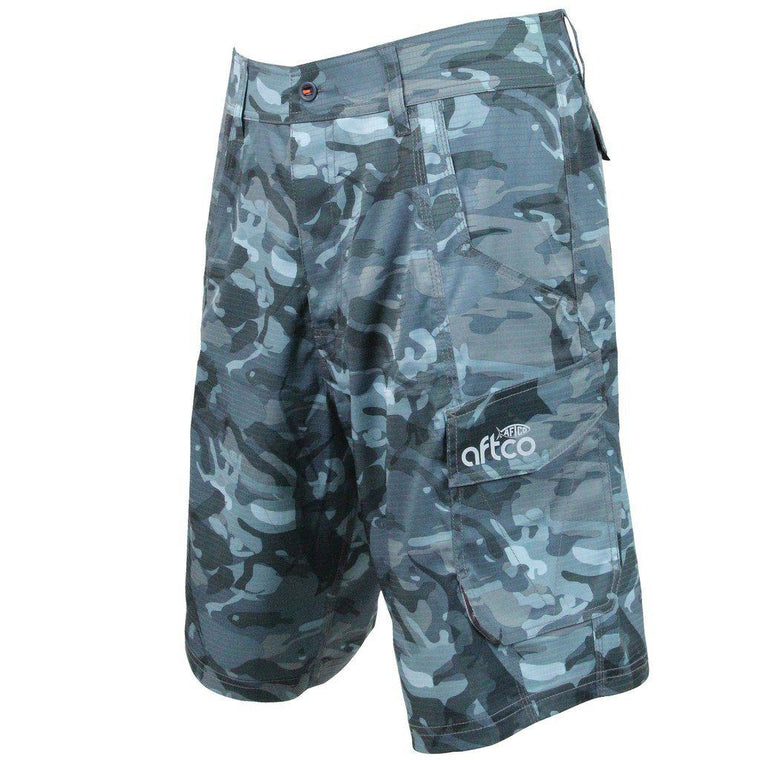 Aftco Tactical Blue Camo Fishing Shorts