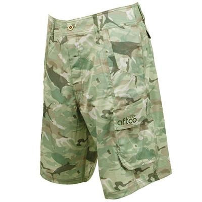 Aftco Tactical Green Camo Fishing Shorts