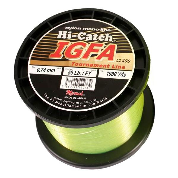 Momoi Hi-Catch I.G.F.A. Nylon Monofilament Line 50 Pounds 1980 Yards - Fluorescent Yellow