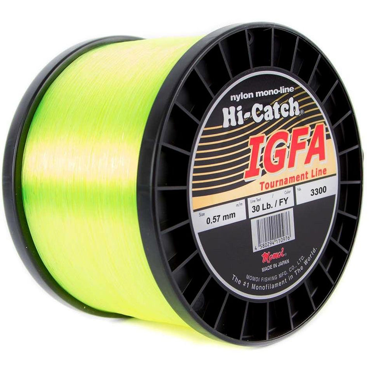 Momoi Hi-Catch I.G.F.A. Nylon Monofilament Line 30 Pounds 3300 Yards - Fluorescent Yellow