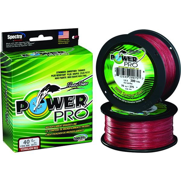 Power Pro Spectra Braided Fishing Line 40 Pounds 300 Yards - Vermillion Red - Bulluna.com