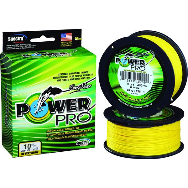 Power Pro Spectra Braided Fishing Line 10 Pounds 300 Yards - Hi-Vis Yellow