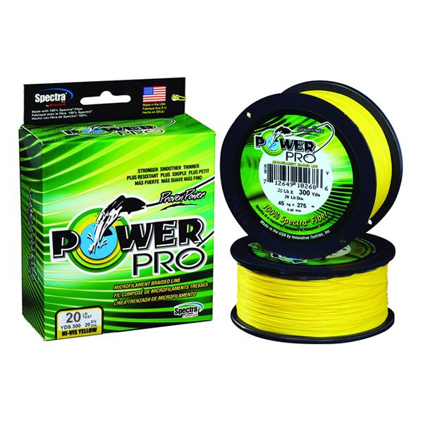 Power Pro Spectra Braided Fishing Line 20 Pounds 300 Yards - Hi-Vis Yellow