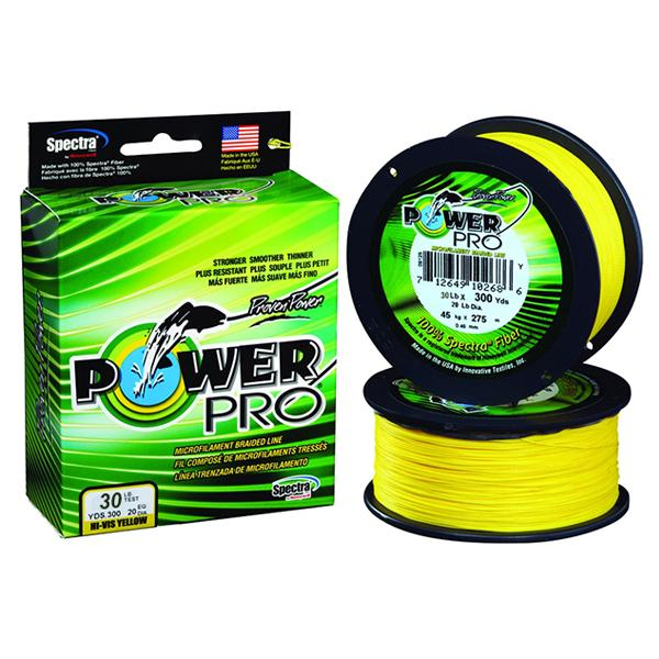 Power Pro Spectra Braided Fishing Line 30 Pounds 300 Yards - Hi-Vis Yellow