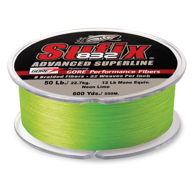 Sufix 832 Advanced Superline Braid - 50 Pounds 600 Yards - Neon Lime - Bulluna.com