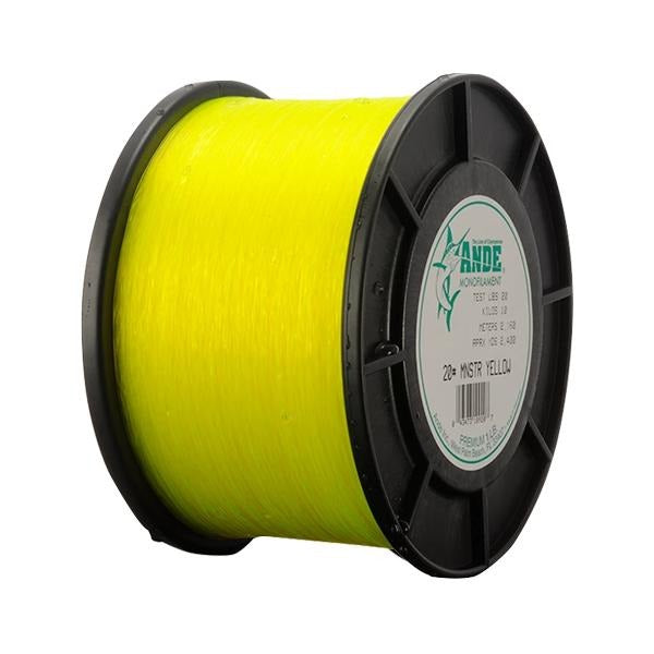 Ande Monster Monofilament Line 100 Pounds 500 Yards - 1 Pound Spool - Yellow - Bulluna.com