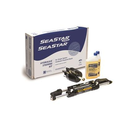 SeaStar Pro Front Mount Outboard Hydraulic Steering Package - Black Pro Cylinder - Bulluna.com