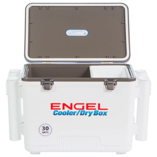 Engel 30 Quart Cooler/Drybox With Rod Holders