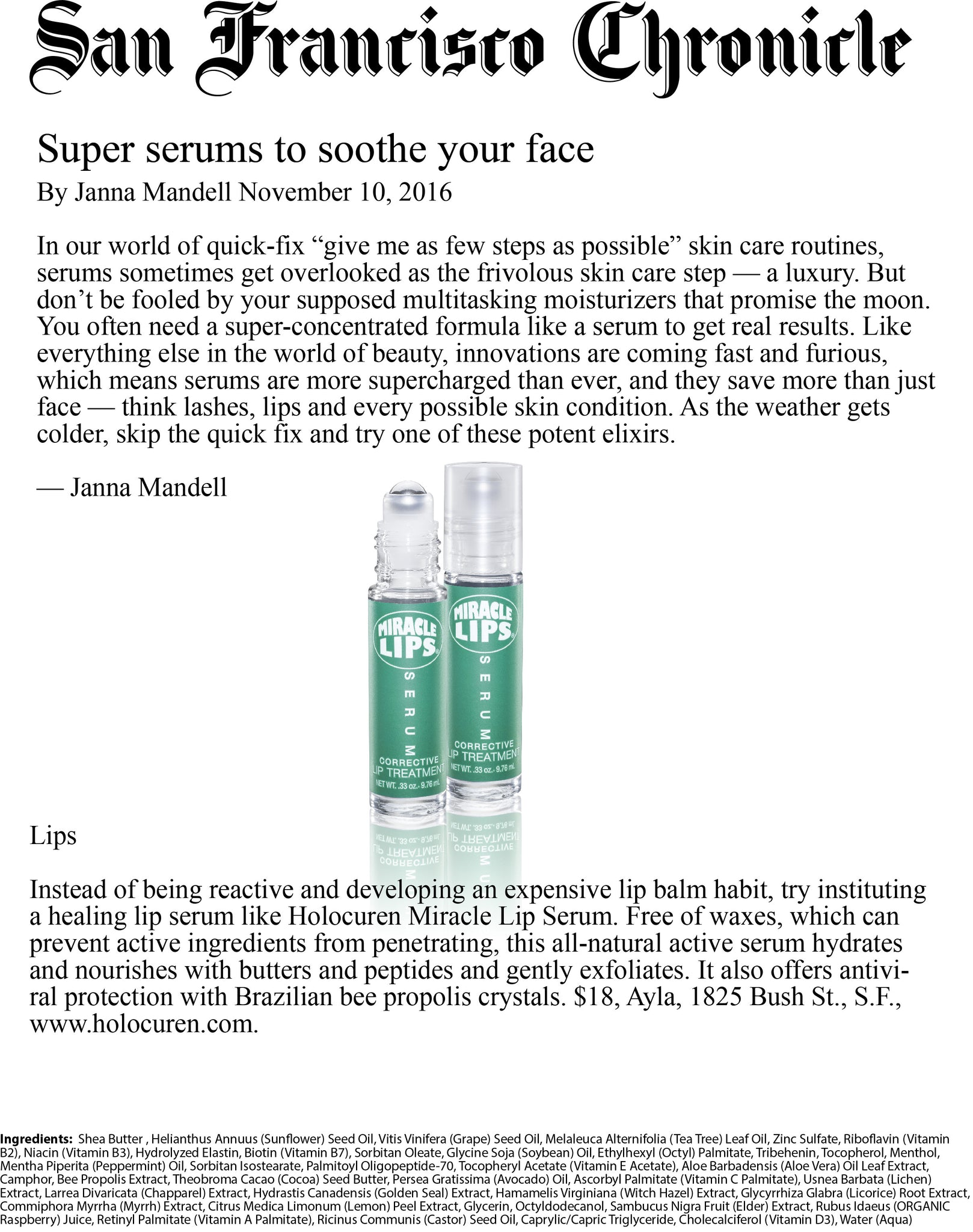 San Francisco Chronicle Miracle Lips Review 11/2016