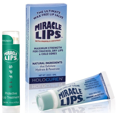 Lip Balm 2 pack with MIRACLE LIPS SALVE corrective Lip Balm and Miracle Lips SPF 15 - HOLOCUREN - Official Website