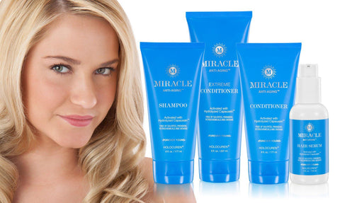 Miracle Anti-Aging Hair Care 4 pack incl Shampoo, 2 conditioners + Leave in Hair & Scalp Serum - HOLOCUREN - Official Website