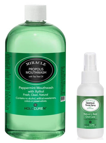 Miracle Propolis Throat Spray and Propolis Mouthwash  Combination Pack
