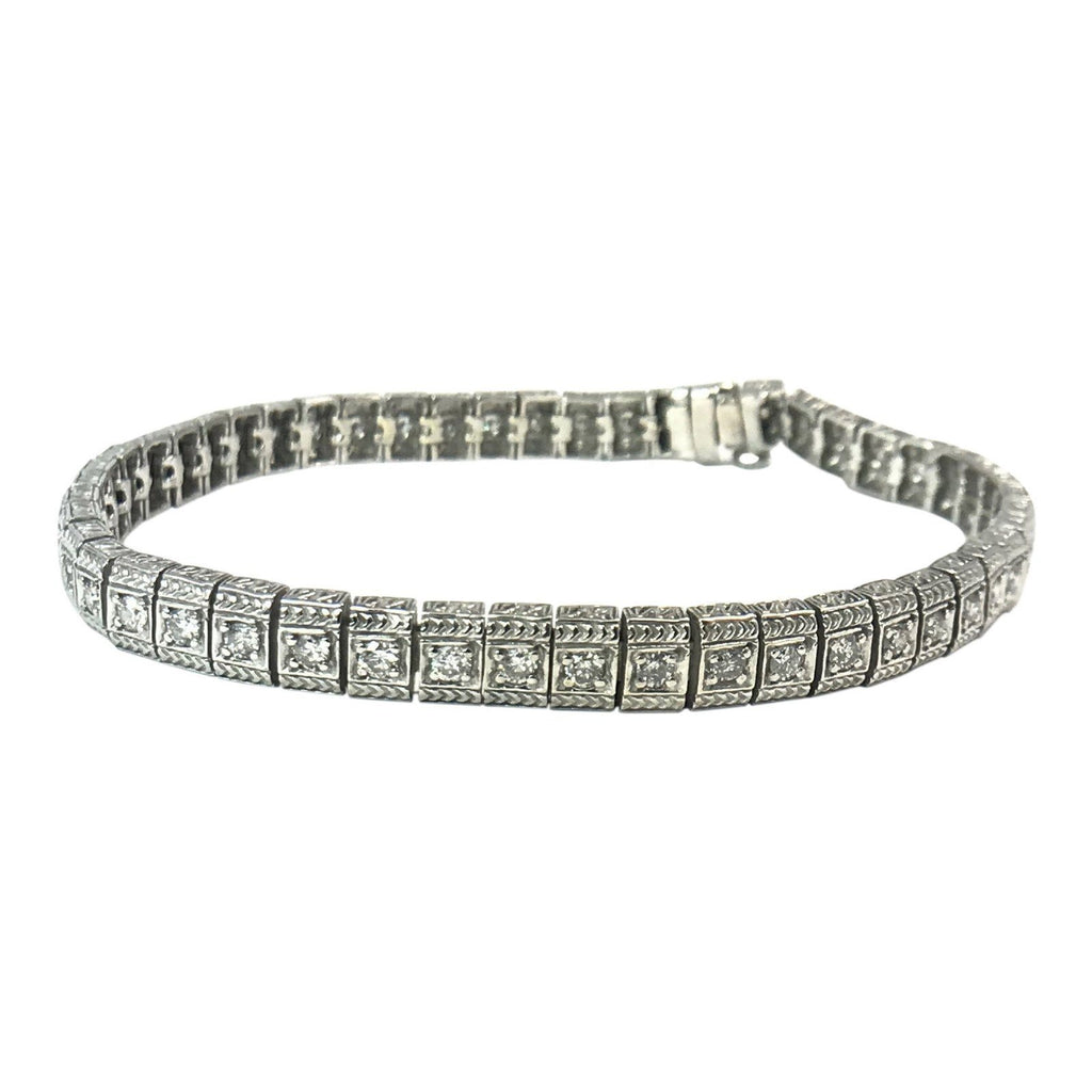 14 Karat White Gold Diamond Tennis Bracelet - Bracelets