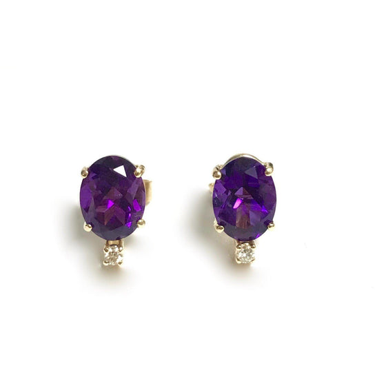 14 Karat Yellow Gold Amethyst and Diamond Earrings Earrings Miscellaneous
