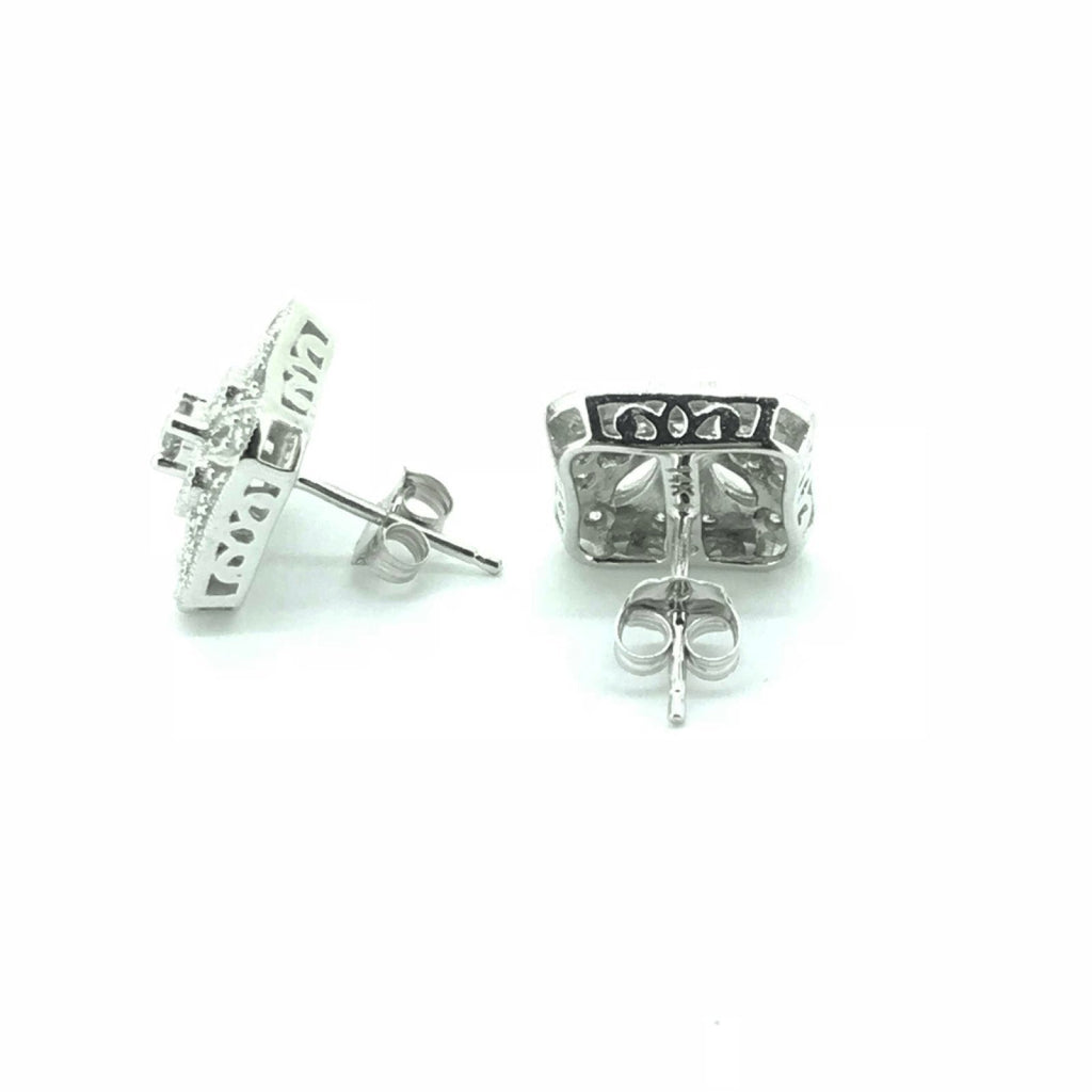 14K White Gold Art Deco Style Diamond Earrings Earrings Miscellaneous