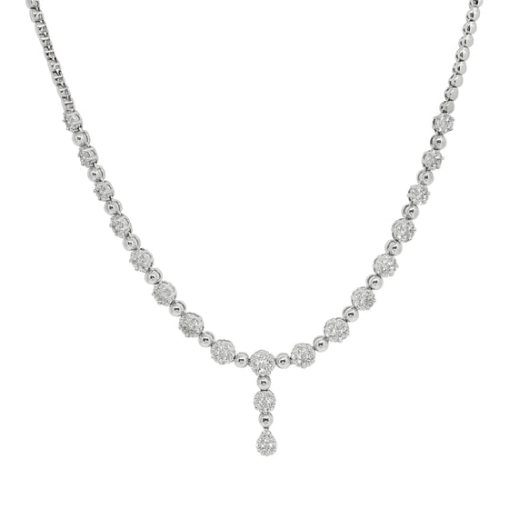 14K White Gold Lariat Design Diamond Cluster Necklace Necklaces Miscellaneous