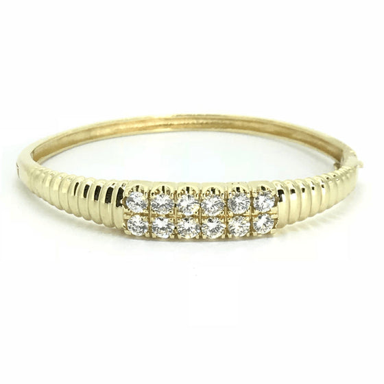 14K Yellow Gold Double Row Diamond Bangle Bracelet Bracelets Miscellaneous